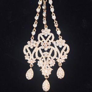 Jewelry - Crystal rhinestone stone golden bridal Jhoomer